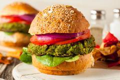 Homemade Green Vegan Burgers Stock Photos