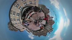 360Vr Video Man and Kid Fair Kiosk City Day Opole Vintage Square Flag Garlands Stock Footage