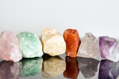 Miscellaneous mineral stones, uncut, crystal healing for alternative medicine Stock Photos
