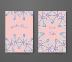 Business card with trendy colors rose quartz and serenity. Flyer template set Stock Illustration