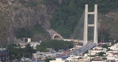 Newly developed borough - Rio de Janeiro,Brazil. Cable-stayed bridge Barra. Stock Footage