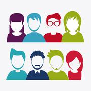 People design. Avatar icon. White background, vector graphic - stock illustration