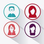 People design. Avatar icon. White background, vector graphic Stock Illustration
