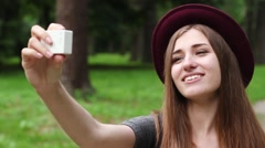 Lovely Girl Tourist Makes Selfie Camera to Action. the Woman is Very Beautiful. Stock Footage