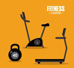 Fitness design. Gym icon. Flat illustration, sport vector graphic - stock illustration