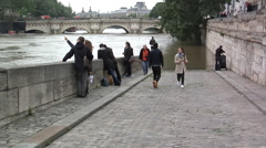 Paris,  flood for of Seine,  In June 3rd, 2016, Bridge Neuf Stock Footage