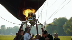 Pilot Igniting Hot Air Balloon Burner Stock Footage