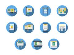 Outdoors advertising sites round flat vector icons Stock Illustration
