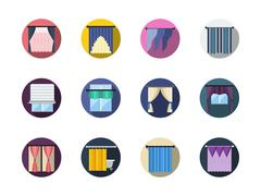 Blinds and curtains color round flat vector icons - stock illustration