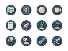 Space expedition color round flat vector icons Stock Illustration