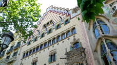 Low angle shot of Casa Amatller in Barcelona Stock Footage