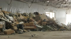 4K Pile of trash at recycling center UHD Stock Footage