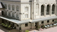 View historic Union station after renovation in the summer from the top. Stock Footage