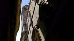 Low angle shot of a catholic cathedral in the Gothic quarter of Barcelona Stock Footage