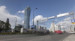 Warsaw cityscape during the day - time lapse footage Stock Footage