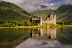 Reflection of Kilchurn Castle in Loch Awe, Highlands, Scotland Stock Photos