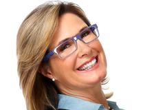Senior business woman portrait with eyeglasses. Stock Photos