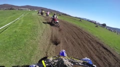 Motocross racing Australia with crash, helmet cam HD Stock Footage