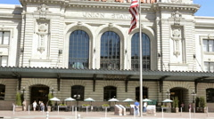 View historic Union station after the renovation in summer Sunny weather with fo Stock Footage