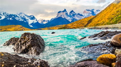Evening waves of Lake Pehoe and the Cuernos del Paine Stock Footage