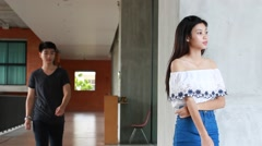 Asia thai woman waiting waiting for his date Stock Footage