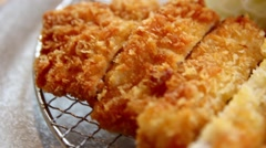 Tonkatsu Crispy chicken close up Stock Footage