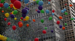 Color Ballons in City Sky Stock Footage