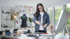 4K Portrait smiling designer running successful online jewelry business Stock Footage