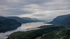 Columbia River Gorge Time Lapse - Vista Point View Stock Footage