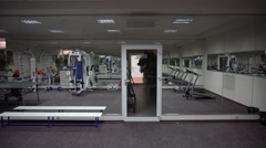Panorama at the Gym With a Mirrored Wall Stock Footage