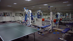 Ping Pong Table in the Gym Stock Footage