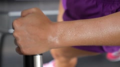 Female Hand in Sweat Training on Trendmill in Gym. Close Up - stock footage