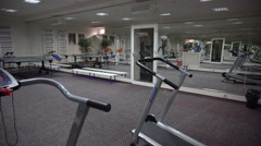 View of the Gym With Outdated Training Equipment Stock Footage