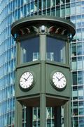 Clock tower, Potsdamer Platz, Berlin, Germany - stock photo