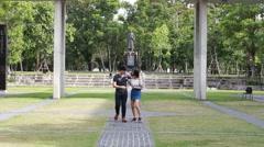Asia thai lover walking playfully Stock Footage