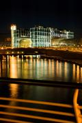 River Spree and new Central Railway station at night, Berlin, Germany Stock Photos
