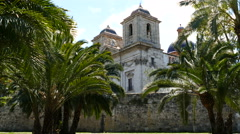 Church at the park of Turia in Valencia Stock Footage