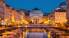Trieste Grand Canal at night Stock Footage