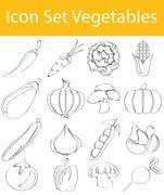 Drawn Doodle Lined Icon Set Vegetables - stock illustration