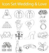 Drawn Doodle Lined Icon Set Wedding & Love - stock illustration