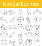 Drawn Doodle Lined Icon Set Business - stock illustration