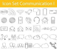 Drawn Doodle Lined Icon Set Communication I - stock illustration
