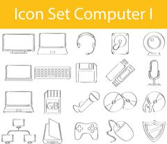 Drawn Doodle Lined Icon Set Computer I Stock Illustration