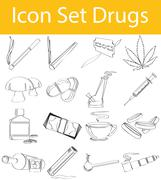 Drawn Doodle Lined Icon Set Drugs Stock Illustration