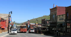 Park City Utah historic Main Street free shuttle bus DCI 4K Stock Footage