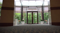 Doors in the Hotel Are Large and Glass Stock Footage