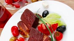 Roast meat : beef pork steak Stock Footage