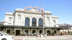 View historic Union station after renovation in the summer in Sunny weather. Stock Footage