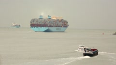 Huge Container Ship Stock Footage