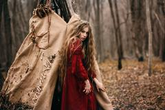 Witch in forest Stock Photos